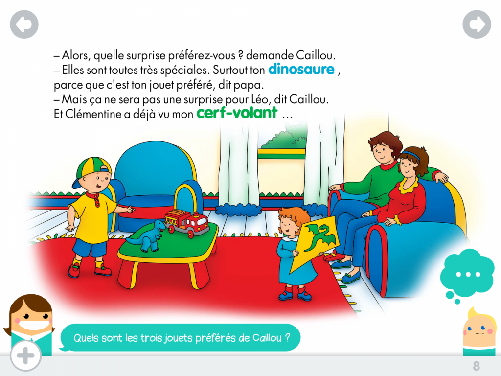 Caillou surprise mots vivants