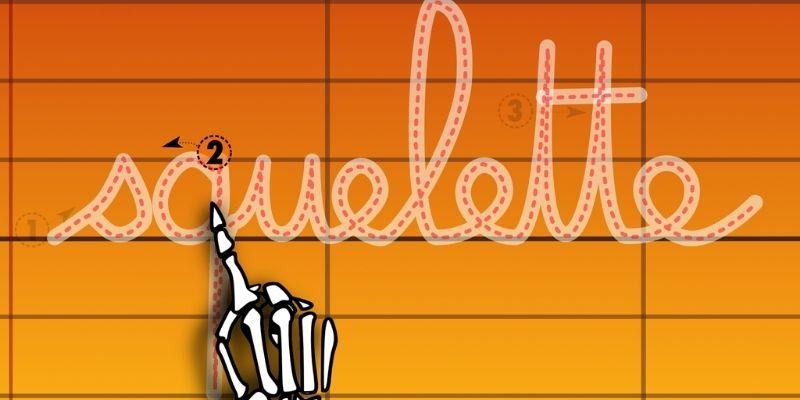 ABC Halloween squelette lettres liées
