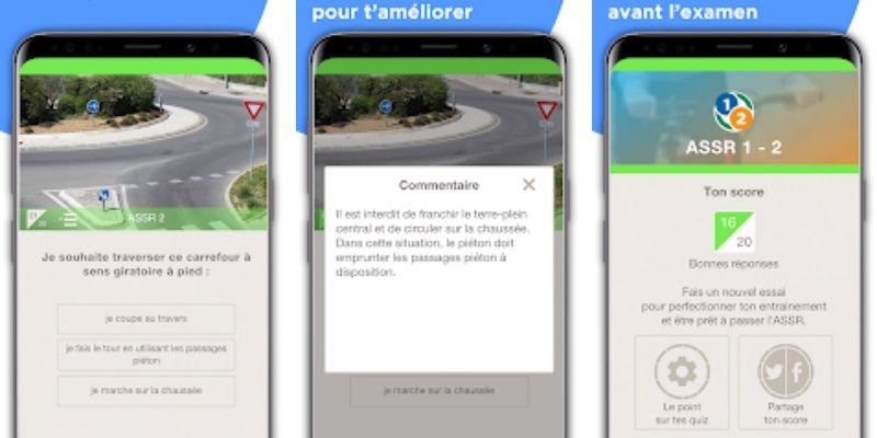 App sécurité routière ASSR exemples