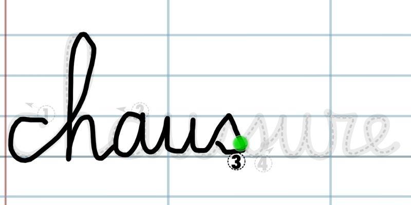 Application pour apprendre à tracer des lettres liées chaussures