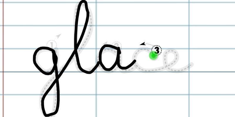 Application pour apprendre à tracer des lettres liées glace