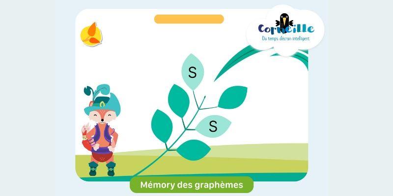 Application de lecture Corneille Mémory des graphèmes