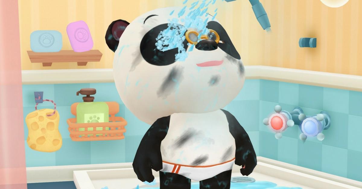 Dr Panda au bain douche