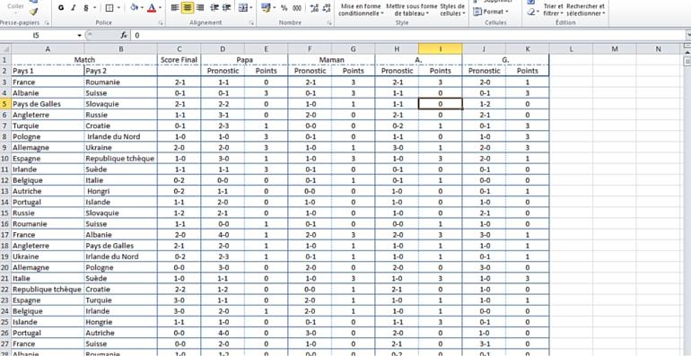 Microsoft Excel sur iOS et Android pronostic