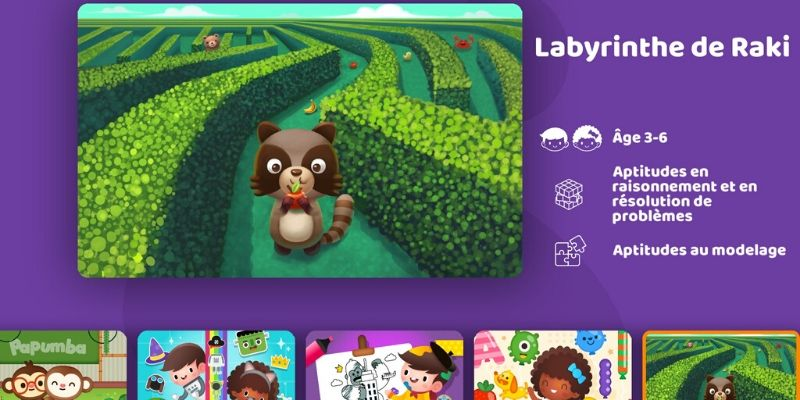 Papumba application de maternelle labyrinthe