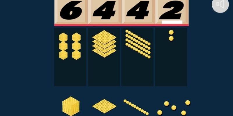 Perles dorées Montessori app Maternelle Montessori grands nombres
