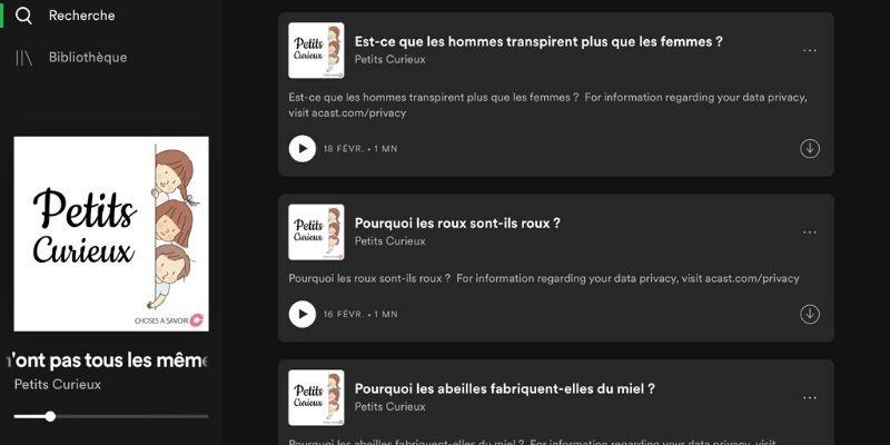 Podcast Petits Curieux Thèmes