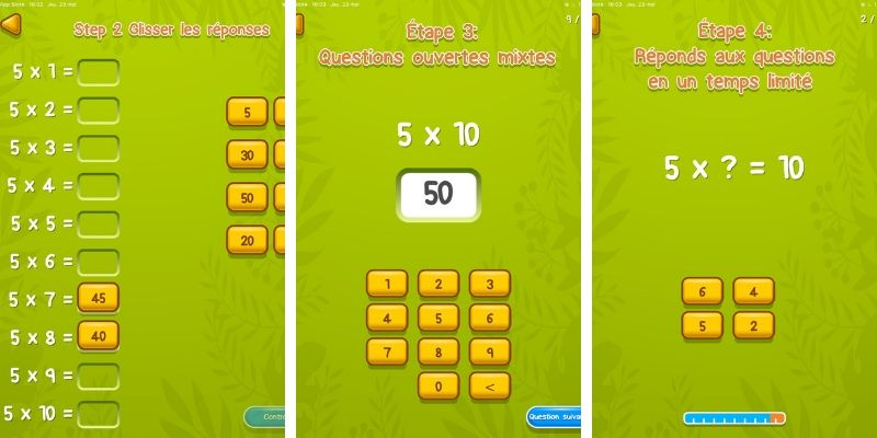 Spuq application apprentissage des multiplications 5 etapes
